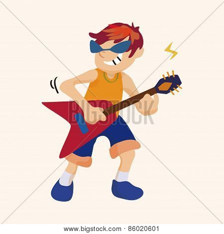 Band Member Guitar Player Theme Elements