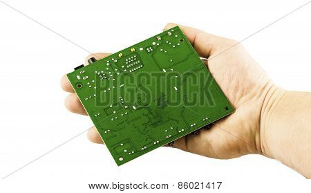 Electronic Microcircuit In His Hand