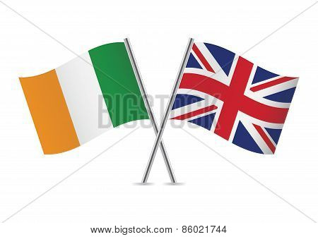 British and Irish flags. Vector illustration.