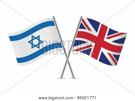 Israeli and British flags. Vector illustration.