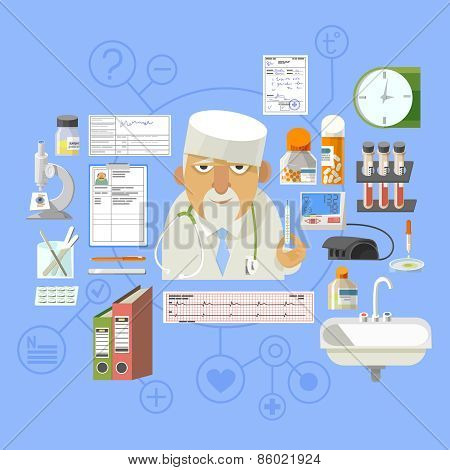Medical concept banner poster composition