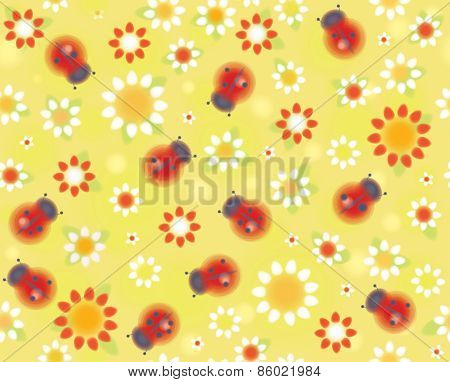 Vector seamless pattern ladybugs and flora.
