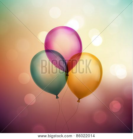 Balloons on colorful defocused background - eps10