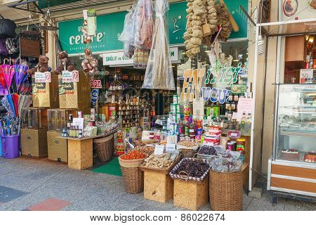 Turkish Bazaar, Small Shop With Spices, Tea And Coffee