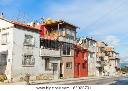 Ordinary Street View With Small Living Houses, Izmir