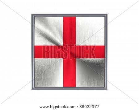 Square Metal Button With Flag Of England