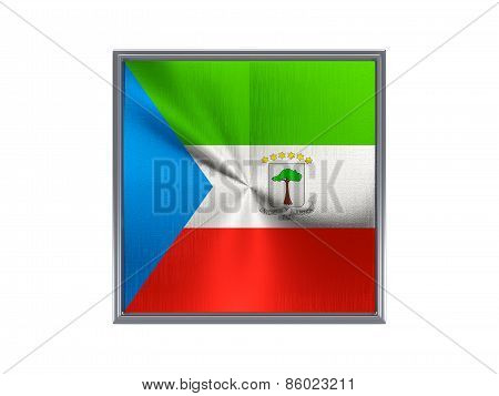 Square Metal Button With Flag Of Equatorial Guinea