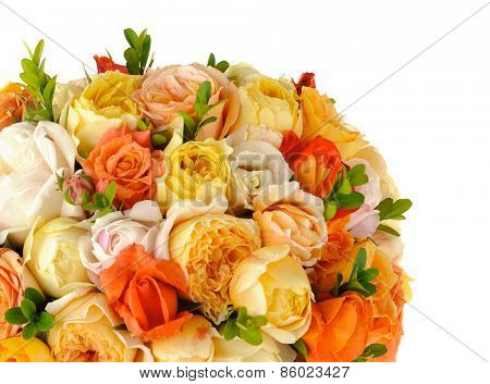Beautiful ornamental bouquet of multicolored roses isolated on white