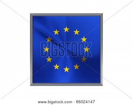 Square Metal Button With Flag Of European Union