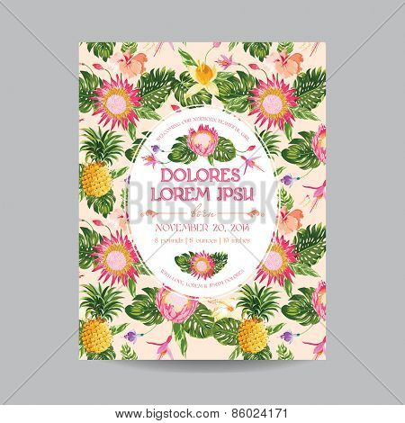 Baby Arrival or Shower Card - with Tropical Floral Design - in vector