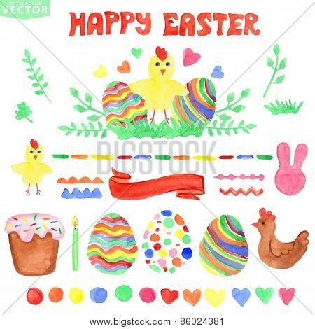 Easter  watercolor set.Isolated decor clipart