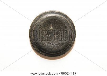 One Big Vintage Button On  White Background