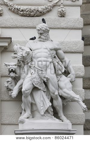 VIENNA, AUSTRIA - DECEMBER 10: Hercules and Cerberus, Hofburg in Vienna, Austria on December 10, 2011.