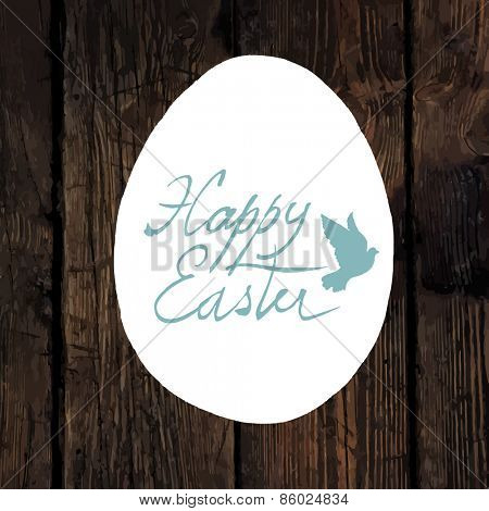 Easter Calligraphy Greeting. With traced wooden texture and Dove symbol
