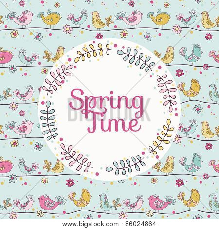 Cute Birds Card - Spring Time - in vector