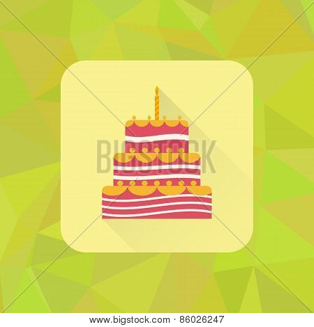 Birthday cake sign icon on polygonal triangle background. Cake with burning candles symbol. Colored