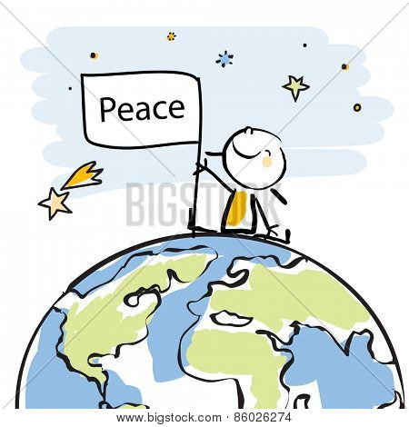 happy kid sitting on top of the globe holding a flag, peace on earth concept in children's drawing style series. Vector line art, doodle style sticky figure.