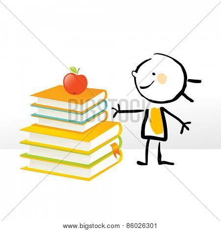 Happy little girl, with pile of books. Happy kids education doodle style vector illustration.