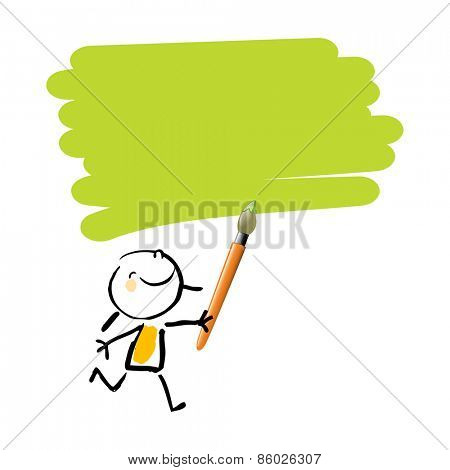 Little girl painting with green color, cute smiling artist kid. Happy kids doodle style sketchy vector illustration.