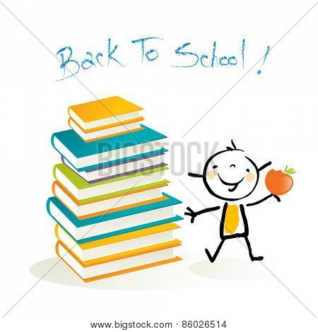 Happy little girl, with pile of books. Happy kids education, back to school doodle style vector illustration.
