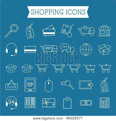 Set of On-Line Shopping icons. Outline. Can be use as elements in infographics, as web and mobile ic