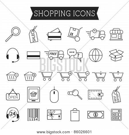Set of On-Line Shopping icons isolated on white background. Outline. Can be use as elements in infog