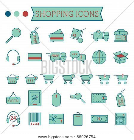 Set of On-Line Shopping icons isolated on white background. Stylized 3 colors. Minimalistic design.