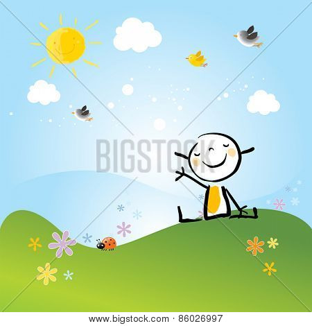 Little girl sitting on a meadow in spring scenery, landscape. Doodle, cartoon vector illustration.