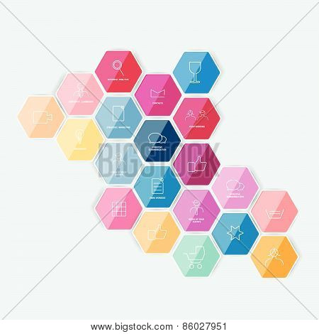 Hexagonal icon set.