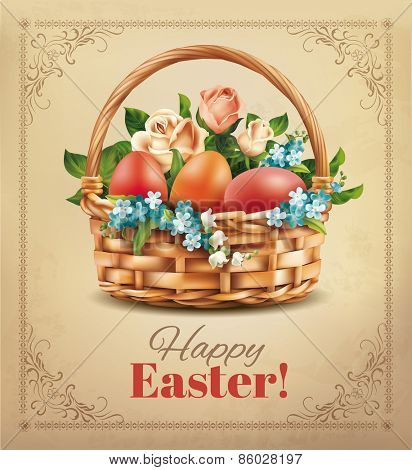 Easter vintage card with basket and eggs. Vector eps 10.