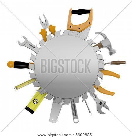 Tools with round metal sign and copy-space, isolated on white