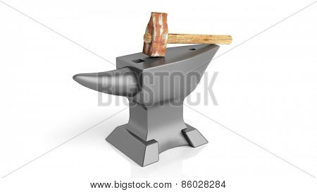 Iron anvil and old hammer, isolated on white background