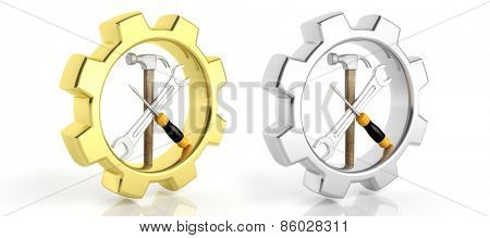 Gears,spanner,screwdriver and hammer isolated on white background