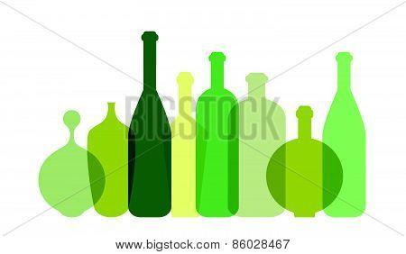 Green wine bottle illustration. Vector.