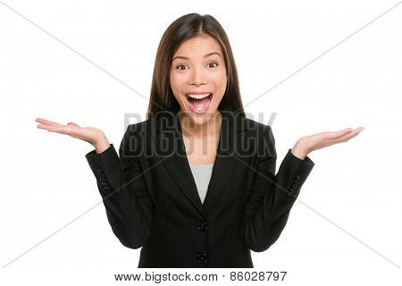 Surprised businesswoman with hands up amazed or shocked by unexpected news holding open palms up for copy space and showing happy expression. Asian mixed race young adult woman on white background.