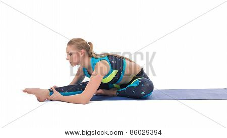 Shot of beautiful girl doing stretching exercise