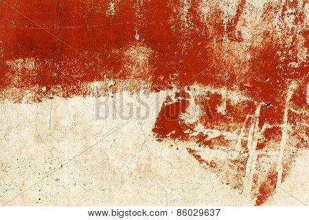 Vintage Old Damaged Wall With Cracks, Scratches, Painted With Red Paint. Textured Background For You