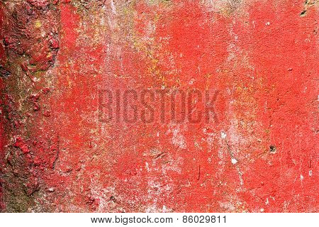 Abstract Background Concrete Painted With Red Paint, Weathered With Cracks And Scratches. Landscape