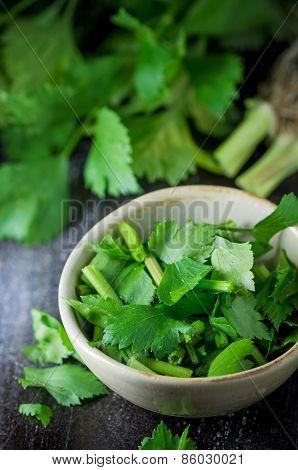 Fresh Celery In Ceramic Bowl