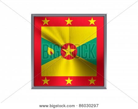 Square Metal Button With Flag Of Grenada