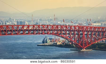Minato Bridge in Osaka, Japan