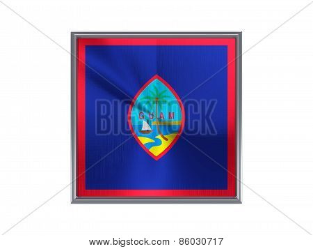 Square Metal Button With Flag Of Guam
