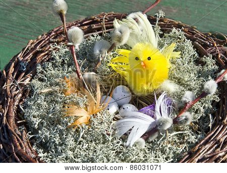 Easter. A Nest With A Chicken And Eggs.