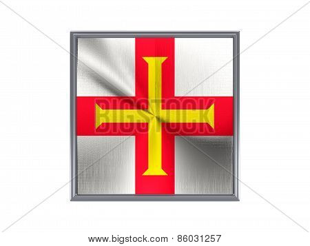 Square Metal Button With Flag Of Guernsey