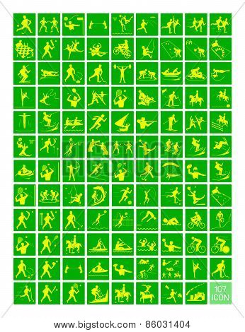 A Set Of Yellow And Green Sport Icons