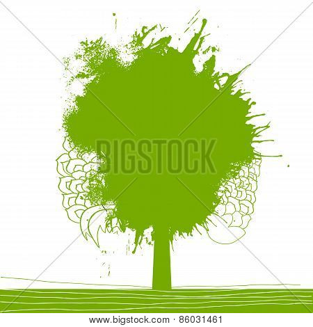 Green splash tree illustration