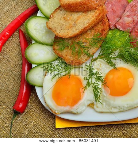 English Breakfast - Toast, Egg, Bacon, Salad  And Cucumber
