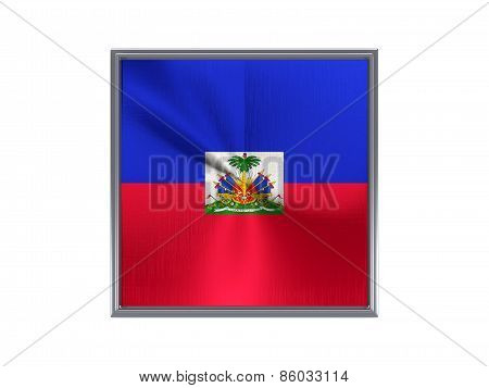 Square Metal Button With Flag Of Haiti