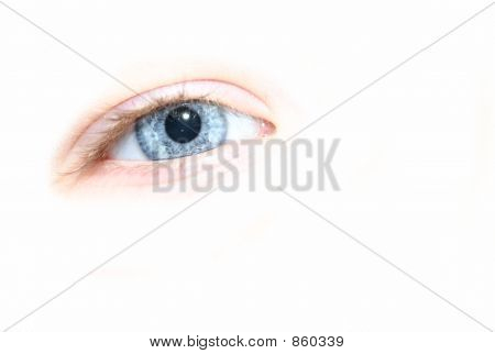 Blue Eye on White