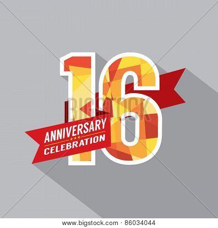 16Th Years Anniversary Celebration Design.